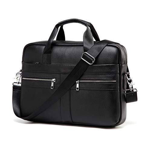 Genuine Leather Messenger Bag for Men – Padded 14 Inch Laptop Briefcase