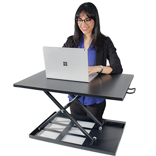Compact Standing Desk Converter, 28in x 20in, Height Adjustable Desk Riser for Dual Monitor or Laptop, Convert any desk to a Stand up Desk, Sit or Stand while working, No assembly required (Black)