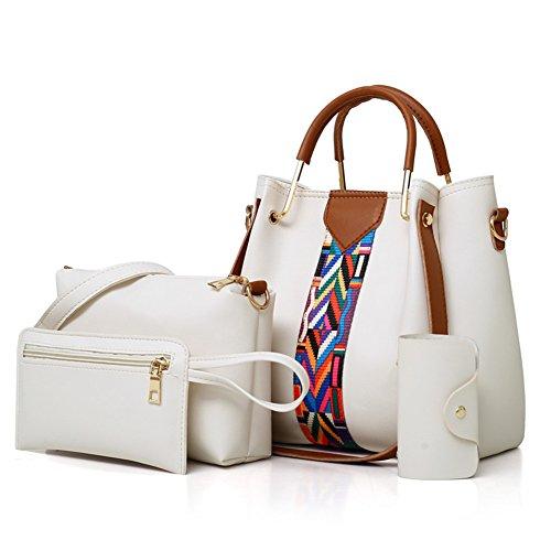 Set Donna Tote Kigurumi A Moda 4pcs Borsa Borse Bianco Elegante Crossbody Spalla OI6nq6wH5