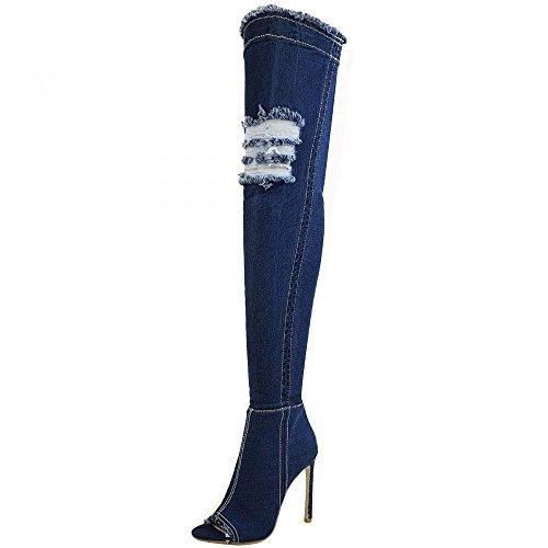 Kick Footwear - Damen Stretch Jeans Über Die Knie Oberschenkel Hohe Open-Toe-Stilettos High Heel Dark Blue Denim