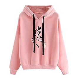 LOPILY Hooded Top Heart Print Hoodie Sweatshirt Women's Simple Full Sleeve Ribbed Childish Hoodie Baggy Tops for Women…