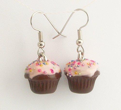 Chocolate Birthday Cupcake with Pink Icing and Rainbow