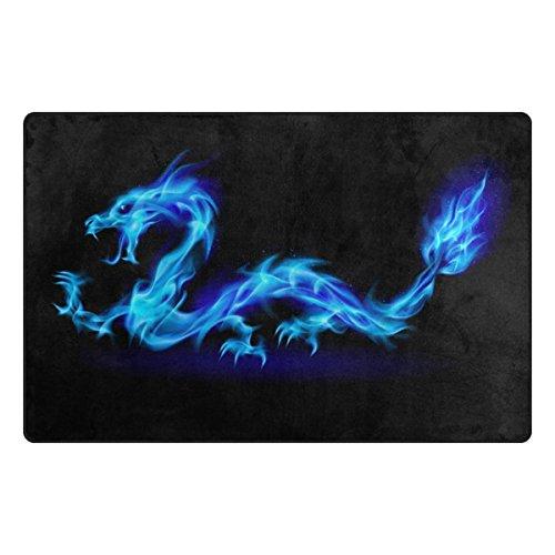 WOZO Abstract Blue Dragon Area Rug Rugs Non-Slip Floor Mat Doormats for Living Room Bedroom 31 x 20 inches