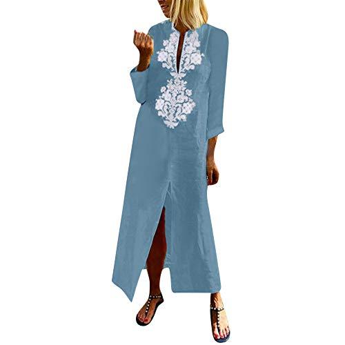 palalibin Women Dress,Womens Paisley Long Sleeve Slit Maxi Dress Baggy Cotton Linen Kaftan Dress(M,Light Blue)