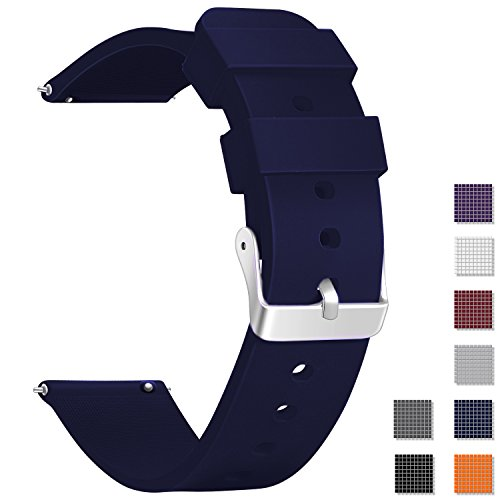 Vetoo New Arrival quick release silicone watch bands, choose color and width 18mm, 20mm, 22mm, 8 colors rubber replacement band strap for men women (22mm Navy Blue) -