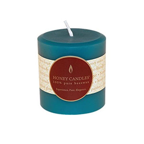 Honey Candles Pure Beeswax 3'' Pillar - Glacier Teal
