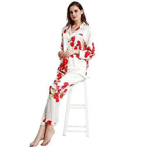 (Womens Silk Satin Pajamas Set Sleepwear Loungewear Red 2XL)