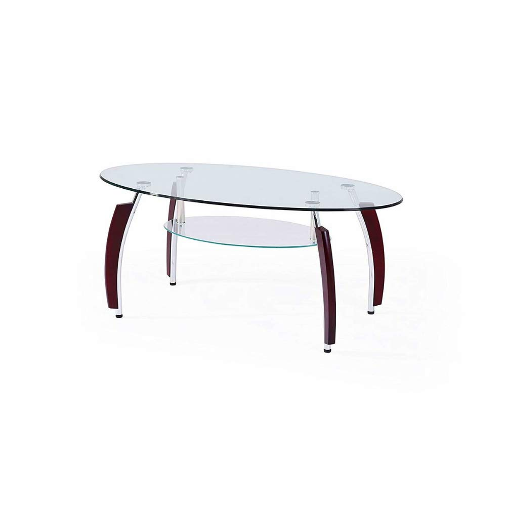 Amazon Com Oval Coffee Table With Glass Top And Shelf Dispaly Wood