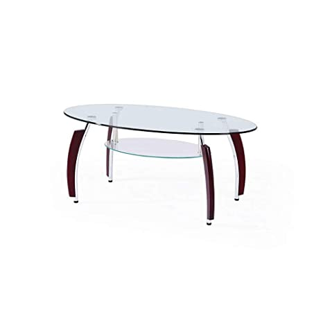 Amazoncom Oval Coffee Table With Glass Top And Shelf