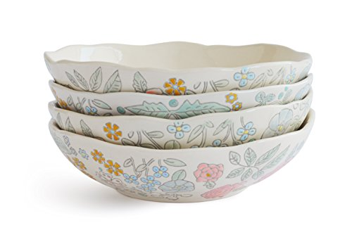 Dorotea Hand Painted Soup/Cereal Bowl, 7.25-Inch, Set of ()