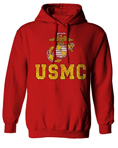 Marine Corp USMC Big Logo United States of America USA American SoldierHoodie (RED, Medium) ()