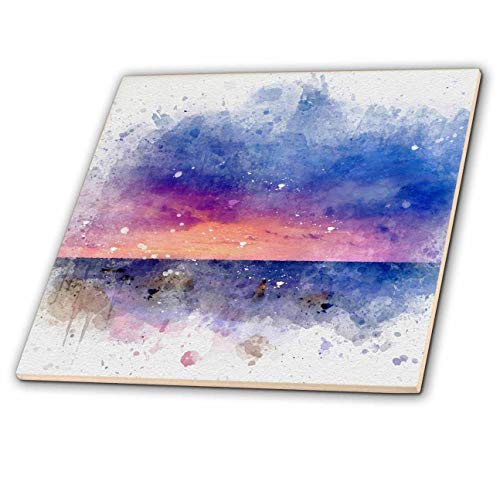 3dRose Anne Marie Baugh - Impressionist Mixed Media Art - Image Of Watercolor Blue and Pink Sunset Beach Art - 8 Inch Glass Tile (ct_318704_7)