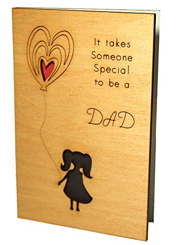 Handmade Real Wood Small Girl with Balloons Best Fathers Day Greeting Card for Father Step Godfather Novelty Happy Birthday Gift Get Well Thank You Wooden Present from Baby Toddler Daughter -