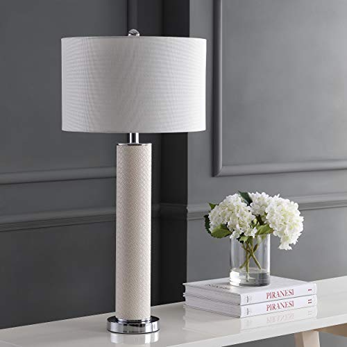 Safavieh Lighting Collection Ollie Cream Faux Woven Leather 31.5-inch Table Lamp (Set of ()