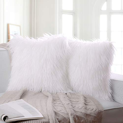 Ashler Pack of 2 Decorative Luxury Style White Faux Fur Throw Pillow Case Cushion Cover 20 x 20 Inches 50 x 50 cm (Real Fur Throws)