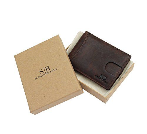 Travel Wallet RFID Blocking Bifold Slim Genuine Leather Thin Minimalist Front Pocket Wallets for Men Money Clip - Made From Full Grain Leather (Texas Brown)