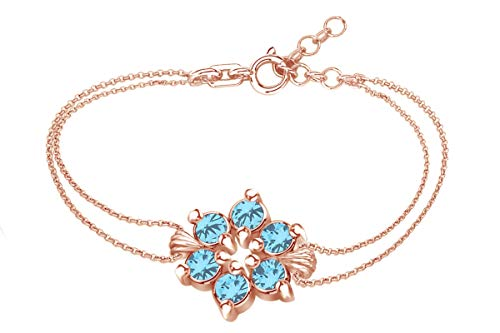 (AFFY Round Shape Simulated Blue Topaz Flower Chain Bracelets in 14k Rose Gold Over Sterling Silver -7.5
