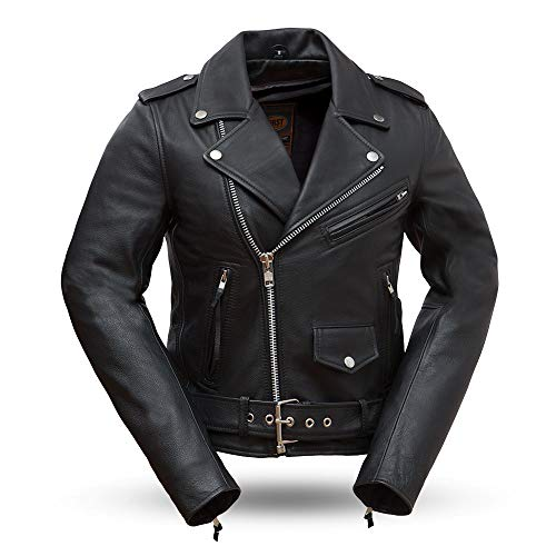 (First Mfg Co FIL182CHMZ-L-BLK Rock Star Ladies Motorcycle Leather Jacket, Large, Black)