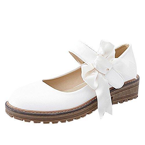 Carolbar Women's Lovely Sweet Bow Mid Heel Platform Mary Jane Shoes White IhKMcM