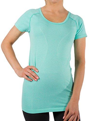 Mib Yoga Heathered Scoop Short Sleeve Top (SMALL, Mint Heather) (Pants Sereno Training Womens)