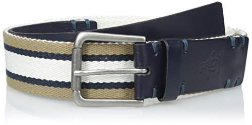 Original Penguin Men's Striped Webbing Belt, Pale Khaki, 32