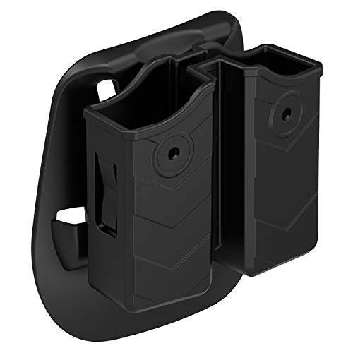 Double Magazine Holster, Universal 9mm .40 Mag. Pouch Dual Stack Mag Holder with Adjustable Paddle Fit Glock Sig sauer S&W Beretta Browning Taurus H&K Most Pistol (Best Holster With Double Magazines)