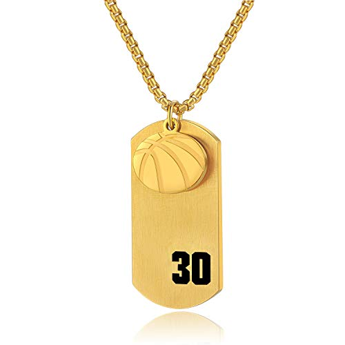 VI.SPORT Player Number 30 Basketball Cross Necklace Dog Tag Pendant,Religious Christian Verse Charm Chain Inspiring Faith I Can Do All Things Jewelry (Gold)
