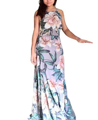 NERLEROLIAN Women's Sleeveless Halter Neck Sexy Floral Print Maxi Dress for Autumn Graygreen-S
