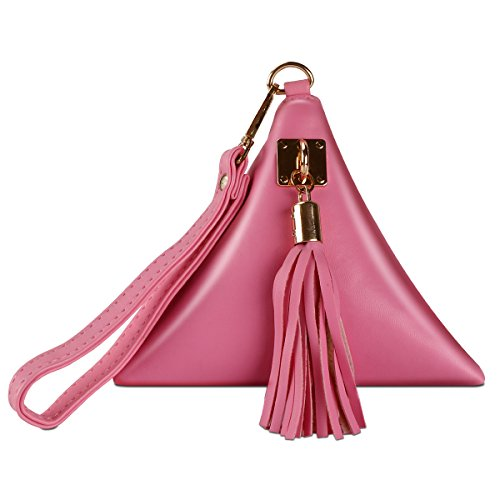 xhorizon SR Women PU Leather Triangle Purse Wristlet Clutch Wallet Tassel Handbag by xhorizon