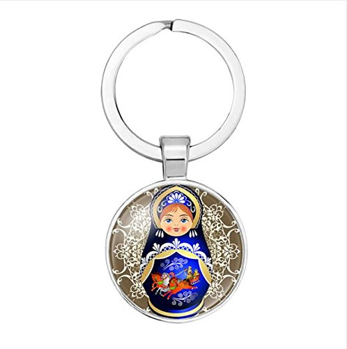 Russian Doll, Glass Dome Keychain, Nesting Doll, Peasant Jewelry, Double Charms, Doll Charm, Tweens Teens Gift ()