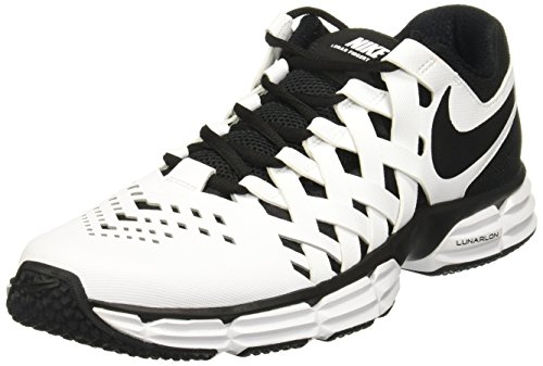 (NIKE Men's Lunar Fingertrap Trainer Sneaker, White/Black, 11.5 Regular US)
