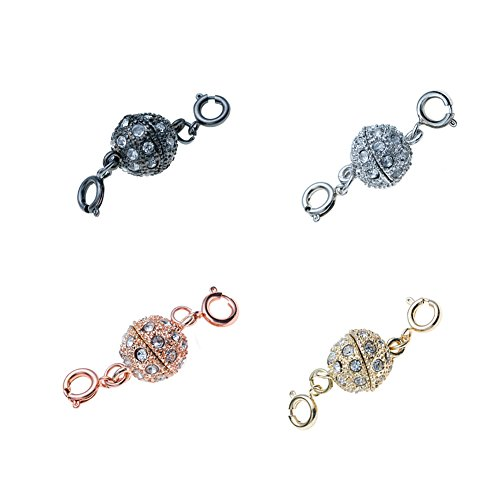 (SYGY 4 Pcs Gold tone and Silver Tone, Rose gold, Black Ball magnetic clasps for jewelry)