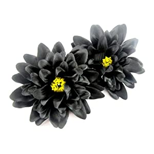"(2) Black Silk Dahlia Flower Heads - 4"" - Artificial Flowers Dahlias Head Fabric Floral Supplies Wholesale Lot for Wedding Flowers Accessories Make Bridal Hair Clips Headbands Dress 21"