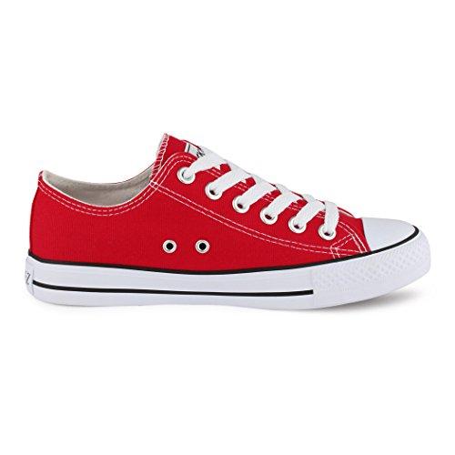 best-boots Damen Turnschuh Sneaker Slipper Halbschuhe sportlich Rot