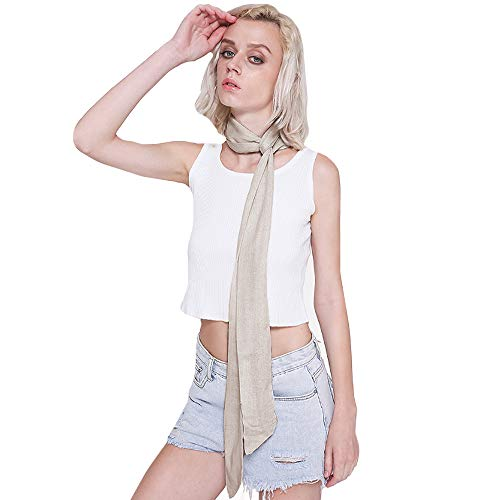 (Monique Solid Color Long Narrow Scarf Ribbon Neck Tie Choker Waistband Belt Beige)