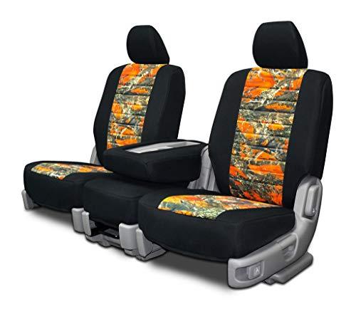 Custom Fit Seat Covers for Jeep Renegade Front Low Back Seats - Orange Neo-Camo Fabric (Orange Camo Fabric)