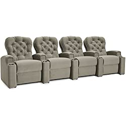 Cavallo Seating Monarch Custom Home Theater Seating Power Recline Customizable Cupholders and Nailheads, Row of 4, Dove