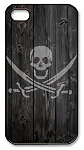 LZHCASE Personalized Protective Case for iPhone 4/4S - Pirate Skull Wood Look