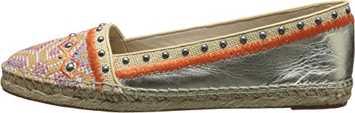 House of Harlow 1960 Women's Kat Moccasin,Light Gold Multi Canvas/Nappa Kid Leather/Woven Raffia,7.5 M US