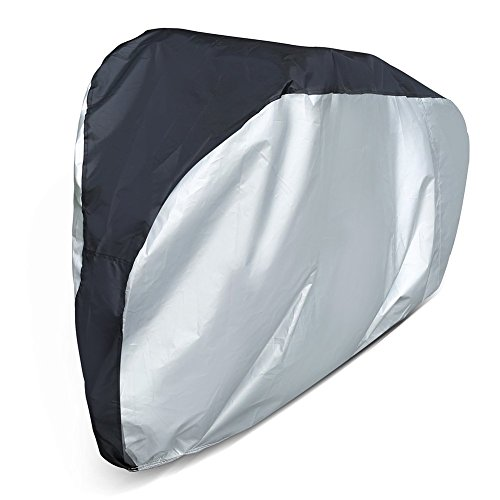LotFancy Bike Cover Waterproof Bicycle Storage Cover Outdoor Dust Wind Proof Mountain Road Exercise Sport Bike, Black & Silver by LotFancy