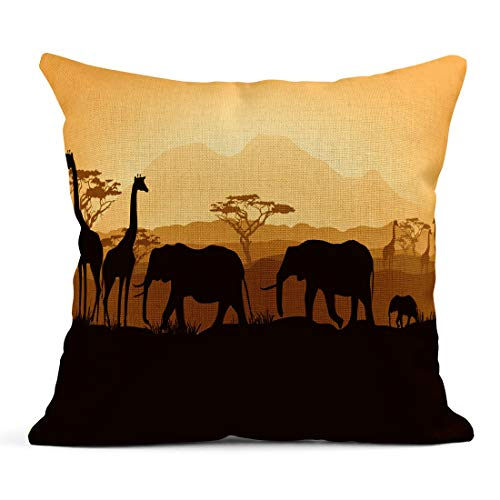 Emvency Decor Flax Throw Pillow Covers Case Orange Safari African Animals Silhouettes in Sunset Yellow Africa Tree Night 18