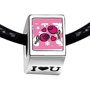 Chicforest Silver Plated Valentine's Day Red Roses Photo I Love You Charm Beads Bracelets Fits Pandora Bracelets