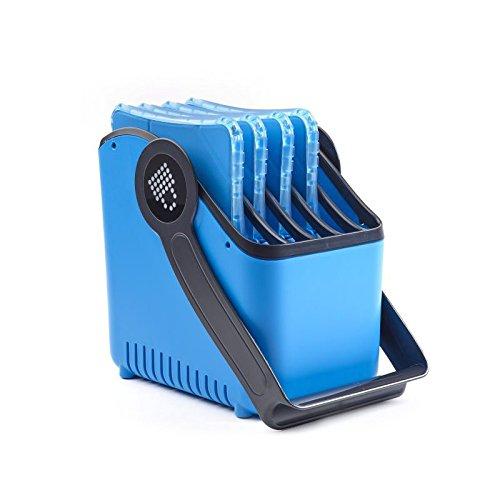 LocknCharge 10040 Large 5-Slot Plastic Device Basket, Single,  8'' Height, 12'' Wide, 12'' Length, Blue