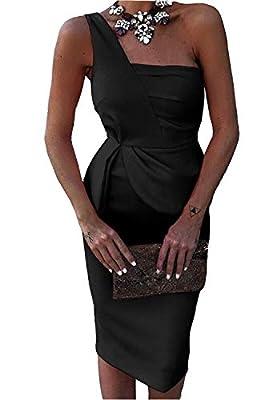 FEIYOUNG Women Sexy One Shoulder Strap Elegant Office Dress High Waist Skinny Vestidos