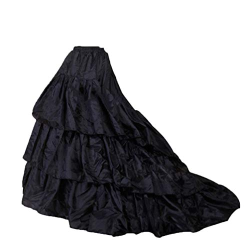 Women Trumpet Mermaid Fishtail Petticoat Crinoline Underskirt Slips Floor Length for Wedding Dress Ball gown(Big-Black)