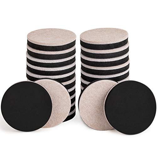 24PCS Furniture Sliders 2.5 Inch Felt Sliders Furniture Pads for Hardwood Floors and All Hard Surfaces (Round Dual Foam Adhesive)