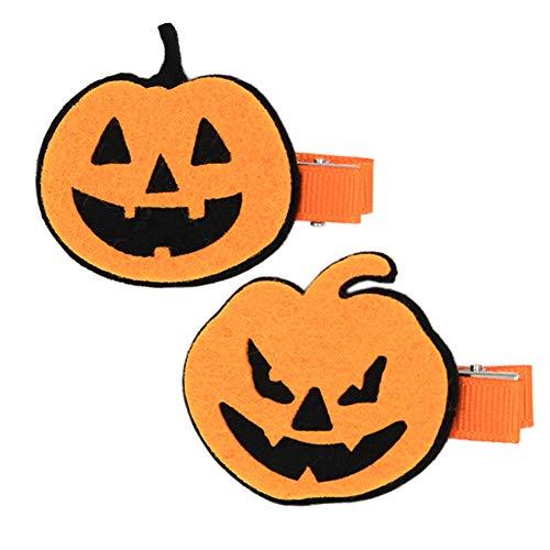 Patiky Halloween Cartoon Hair Clips Hairpin Hair Accessories Cosplay Costume WJR06 (Pumpkin-2Pack) ()
