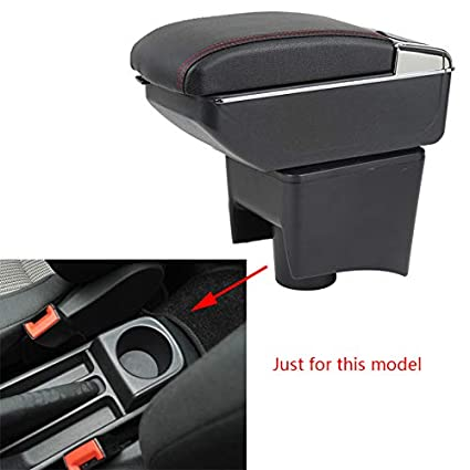 For Toyota Yaris 2006-2011 Car Center Console Armrest Storage Box Accessories With Cup Holder And Removable Ashtra Black With Red line
