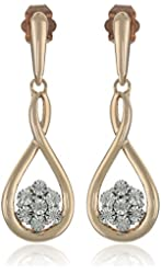 White Diamond Accent Fashion 10k Pink Gold Earrings