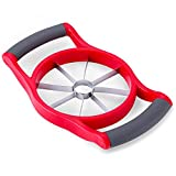 Latest Large Apple Slicer & Corer - Razor Sharp, Stainless Steel Thin Metal Cutter Blades - Ergonomic, Cushioned Handles - Stores Flat In Any Drawer